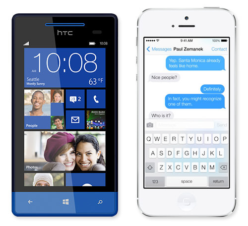 Interfaces on a Windows Phone 8 and Apple's iOS 7.