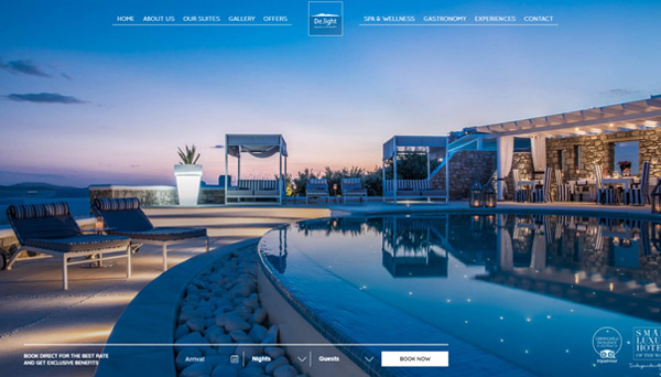 Lifethink delight hotel mykonos web design for Top design hotels mykonos
